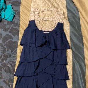 Navy blue tank top with lace
